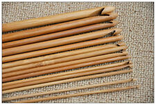 "12 Size Bamboo 6"" Handle Crochet Hook Knit Weave Yarn Craft Knitting Needle Set"