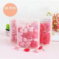 50pcs/box Novelty Heart Shaped Plastic Thumbtack Universal Office Push Pins UK