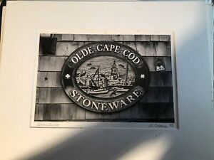 """Old Black And White Photo """" Olde Cape Cod Stoneware Barnstable Signed R. Coburn"""