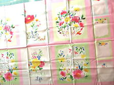 """Quilt Block Panel """"Fleurologie - Pink"""" by MODA, Floral Blocks with Sayings"""
