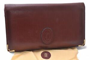 Authentic Cartier Must de Cartier Clutch Bag Leather Bordeaux Red C2905