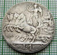 ITALY VITTORIO EMANUELE III 1913 R 1 LIRA, QUADRIGA, SILVER