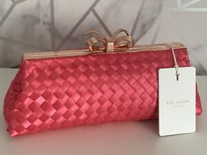 TED BAKER ALAINA Bow Evening Clutch Bag Pink RRP £99.00