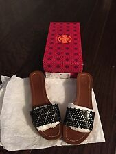 TORY BURCH FLORAL PERFORATED WEDGE SANDALS SHOES PATENT SIZE 9 51148623 BLACK!