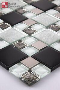 Glasmosaik Mosaik Fliesen Edelstahl Glas Mosaik Schwarz Silber Weiß 1m² 8mm