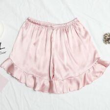 Women Satin Shorts Pajama Bottom Knickers Panties Briefs Lingerie Faux Silk Pink