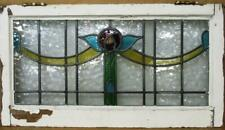 """OLD ENGLISH LEADED STAINED GLASS WINDOW TRANSOM Lovely Rose & Swag 30.75"""" x12.5"""""""