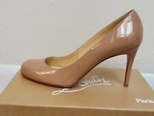 CHRISTIAN LOUBOUTIN SIMPLE PUMPS SHOES 85mm HEELS 40.5 PATENT CALF NUDE