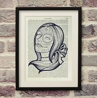 Mexican Sugar Skull Art Vintage Encyclopedia Print Dictionary Book Page Gift