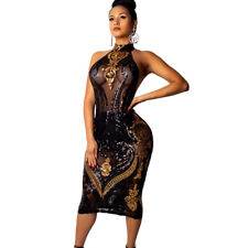 Women Sleeveless Backless Sequins Mesh Sheer Perspective Bodycon Club Dress