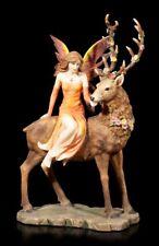 Elfen Figur - Luana auf Hirsch - Fantasy Fee Reh Dekostatue