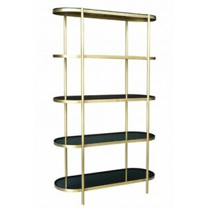 """75"""" T 4 Tier Glass Console Table Modern Smoke Glass Shelves Gold Iron Frame"""