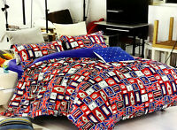 Reversible London Marks / Navy Duvet cover and Pillow cases 3 pcs 100% Cotton