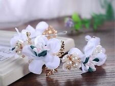 Women Girl White Flower wedding Bride Prom Party Hair piece Headband Crown Prop