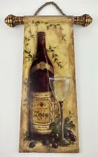 VTG  Bordeaux Wine and Glass kitchen decor Scroll Hanging Wood wall sign