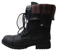 New Women's Lace Up Fold-able Combat Boots Soft Plaid Lining Black Brown 5.5 - 7