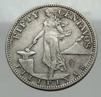 1944 S PHILIPPINES Fifty Centavos United States of America Silver Coin i63002