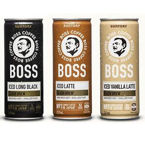 Boss Coffee Iced Vanilla Black & Latte 237ml No1 Canned Coffee in Japan Suntory
