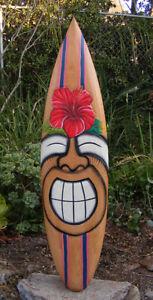 "Happy Tiki Hibiscus Flower Tropical Nautical Wood Surfboard Wall Plaque Bar 38"""