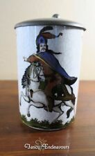 Hand Painted Porcelain Stein with Man on Horse and Pewter Lid Unmarked