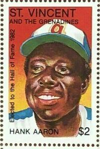 St. Vincent 1982 - Hank Aaron, Hall of Fame, Baseball - Single Stamp - MNH