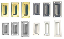 Flush Rectangular Slide Pull Handle -Brass, Polished & Satin Chrome / Aluminium