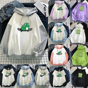Women Long Sleeve Hoodie Sweatshirt Cute Frog Tops Pullover Harajuku Hoodie NEW