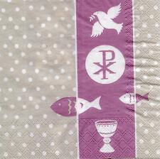 Servietten 33x33 20St. (214) Kommunion Konfirmation Taufe Fisch Pax rosa