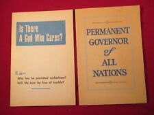 Watchtower Booklets, PERMANANT GOVERNOR OF ALL NATIONS / IS THERE A GOD WHO CARE