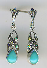925 Sterling Silver Turquoise & Marcasite Drop / Dangle Earrings  Length 1""