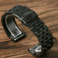 20mm 22mm 24mm Men's Solid Stainless Steel Fold Clasp Wrist Watch Band Strap