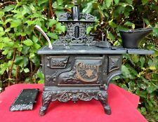 Crescent Cast Iron Stove Toy Salesman Sample Miniature w Accessories Vintage