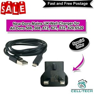 New Doro Mains UK Wall Charger And Cable Doro 506, 508, 612, 621, 632, 820,6520