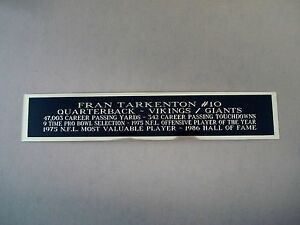 Fran Tarkenton Autograph Nameplate For A Football Case / Cube Photo 1.25 X 6