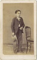 Ritratto Un Jeune Uomo Da Maglia Beaune CDV Vintage Albumina Ca 1870