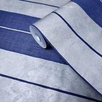 Wallpaper navy Blue Stripes Silver Metallic Striped Textured modern double Rolls
