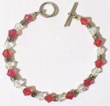 bracelet rétro en perles toupie en cristal de couleur rouge et translucide *4009