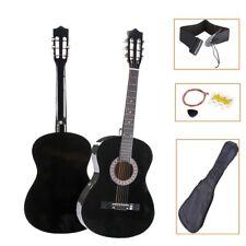 38'' Black Acoustic Guitar Steel Strings Steel-stringed w/Tuner Pick Guitar Case