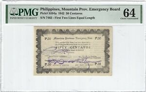 P-S594a 1942 50 Centavos, Philippines, Mountain Prov. Emergency Board, PMG 64