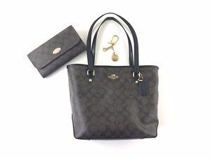 Coach Signature Zip Tote Purse Matching Wallet Brown Black 'C' Logo Bag Charm