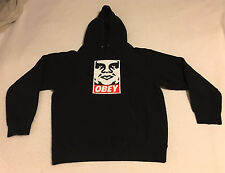 Black Hooded OBEY Sweatshirt Hoodie Pullover Face Icon Adult Size S