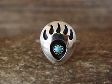 Navajo Indian Jewelry Sterling Silver Turquoise Bear Paw Ring! Size 7 - L. Pa...