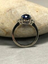 1.20Ct Round-Cut Blue Sapphire Three-Stone Engagement Ring 14K White Gold Finish