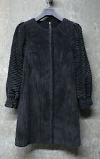Dolce & Gabbana - Off Black Wide Corduroy Velvet Mini Dress w/ Puff Sleeves
