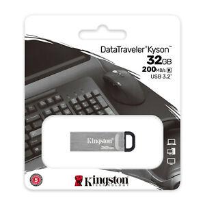Kingston Kyson 32GB 200MB/S, USB 3.2 Pegar, Metal Flash Mecanismo Plata 32GB
