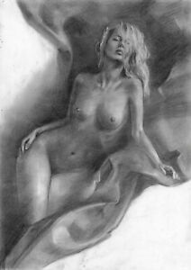 original drawing А3 81PY art by samovar Charcoal female nude Signed
