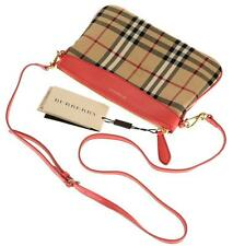 $625 NEW BURBERRY PEYTON HORSEFERRY CLASSIC CHECK LEATHER  CLUTCH CROSS BODY BAG