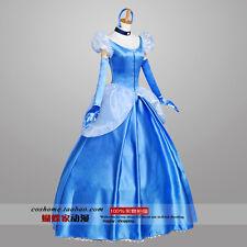 New Custom Adult Princess Cinderella Costume Women Dress Blue