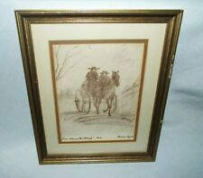 "FRAMED FLORENCE TAYLOR ""FENCE AROUND THE AMISH"" DRAWING #14  LOOK!!!!"
