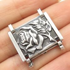 Antique  925 Sterling Silver Floral Rose Wide Bracelet/Necklace Lock